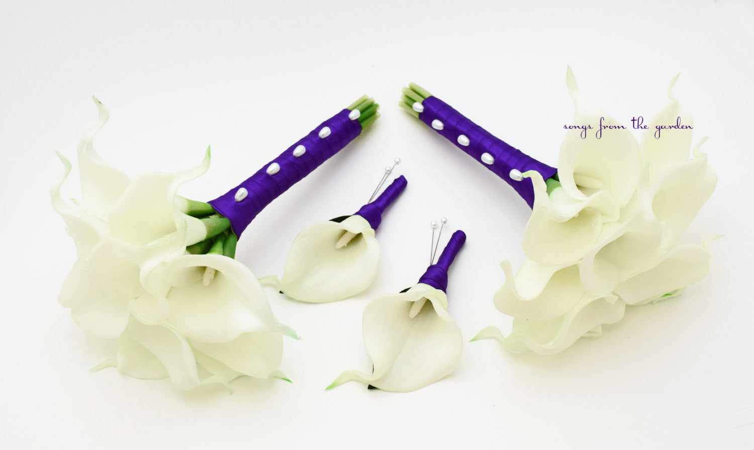 Real Touch Calla Lily Bridesmaids Bouquets White Purple
