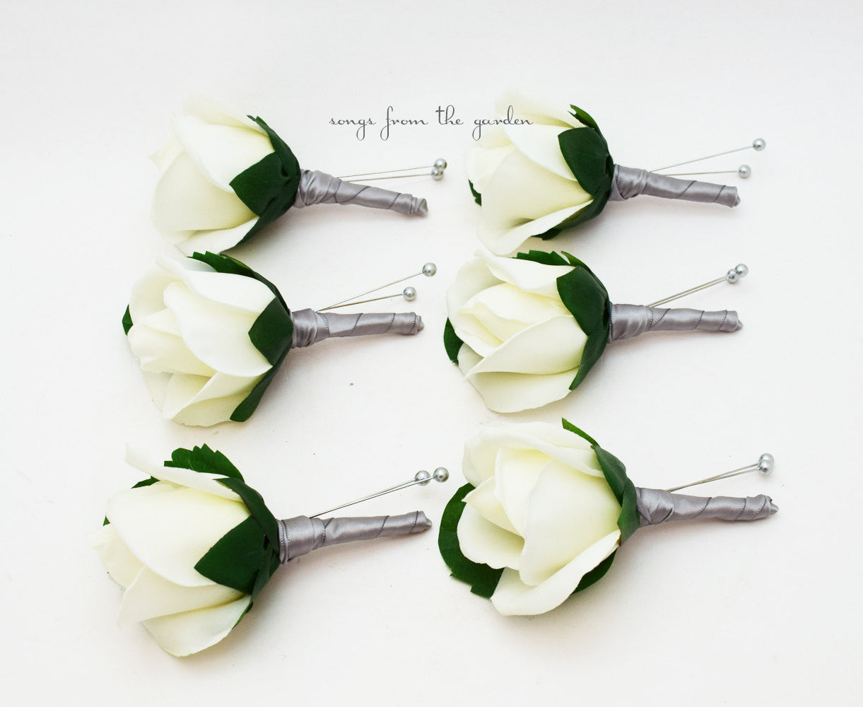 Silver White Real Touch Rose Boutonniere Buttonhole Groom Groomsmen