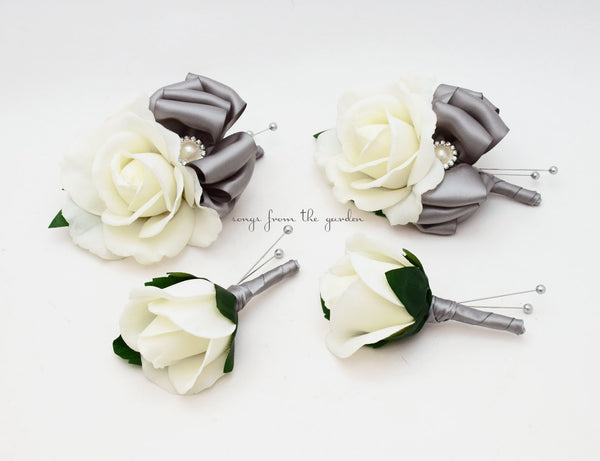 White & Silver Grey Rose Wedding Boutonniere & Corsage with Rhinestone Pearls