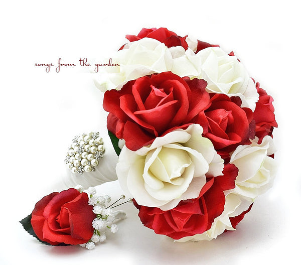 White & Red Real Touch Roses Bridal Bouquet Groom's Boutonniere