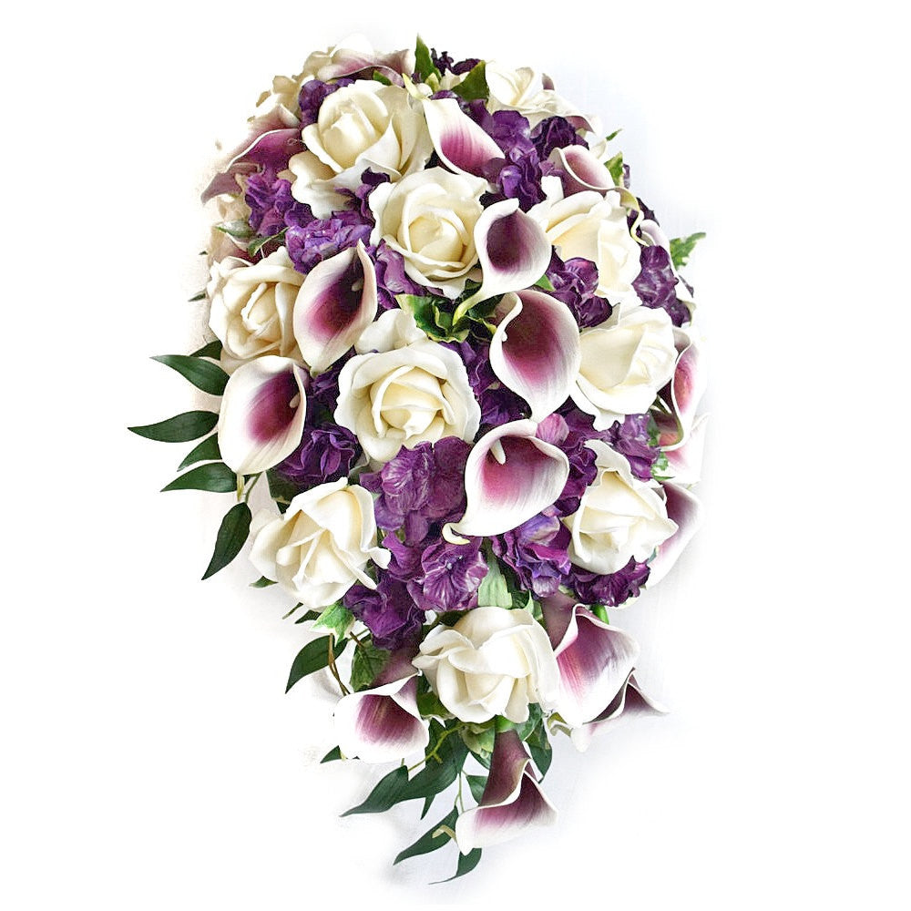 Cascade Bridal Bouquet Featuring Real Touch Picasso Callas,White Roses, and Purple Hydrangea