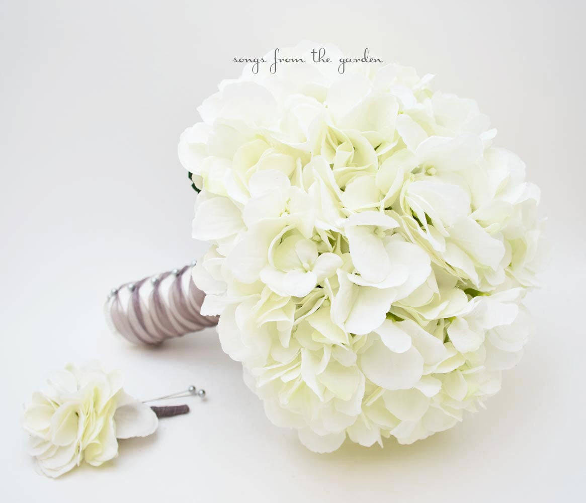 Wedding Bouquet White Silk Hydrangea Groom's Boutonniere - Silk Flower Bridal Bouquet