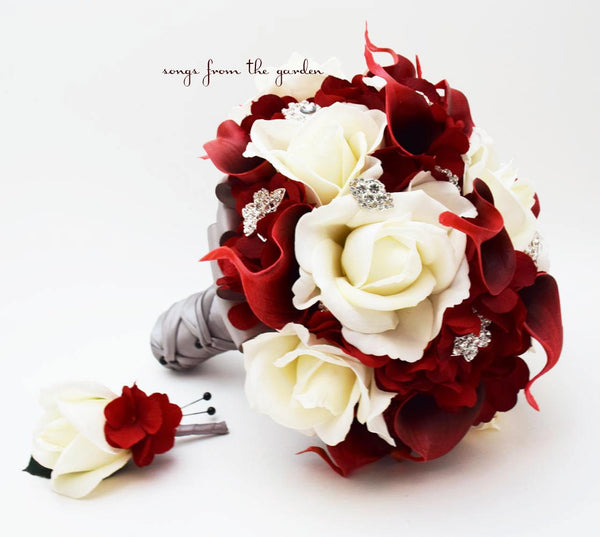 Bridal Bouquet Groom's Boutonniere White Roses Deep Red Calla Lilies & Rhinestones