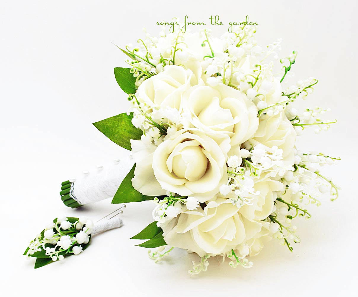 Lily of the Valley White Real Touch Roses Bridal Bouquet with Groom's Boutonniere