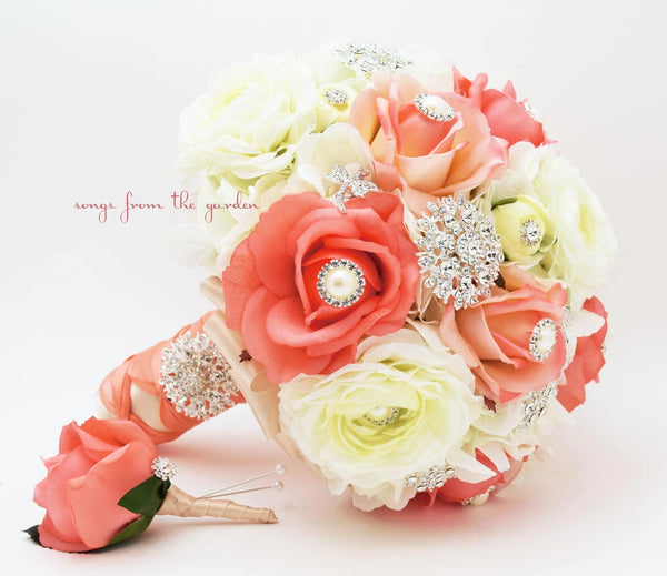 Coral White Brooches & Blooms Brooch Bridal Bouquet & Groom Boutonniere Silk Flower Wedding