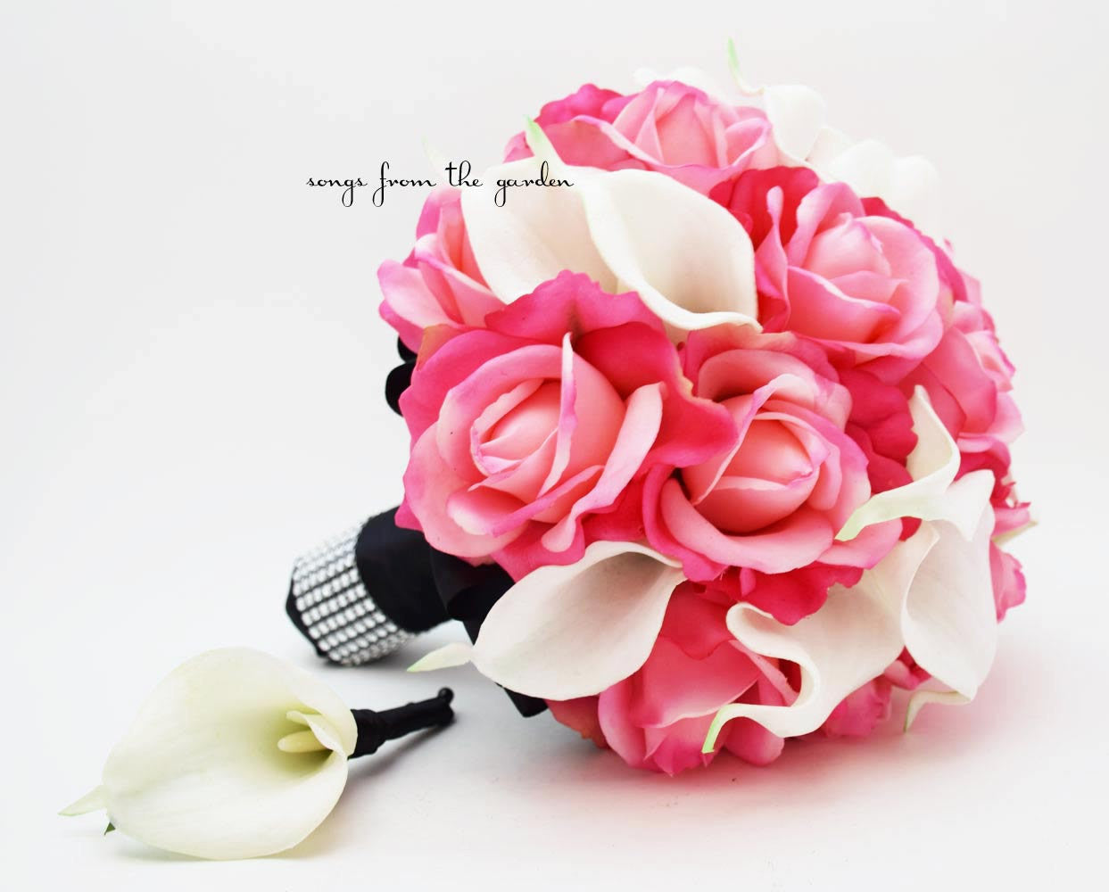 Pink White Black Bridal Bouquet Real Touch Calla Groom Boutonniere Hot Pink Roses White Callas