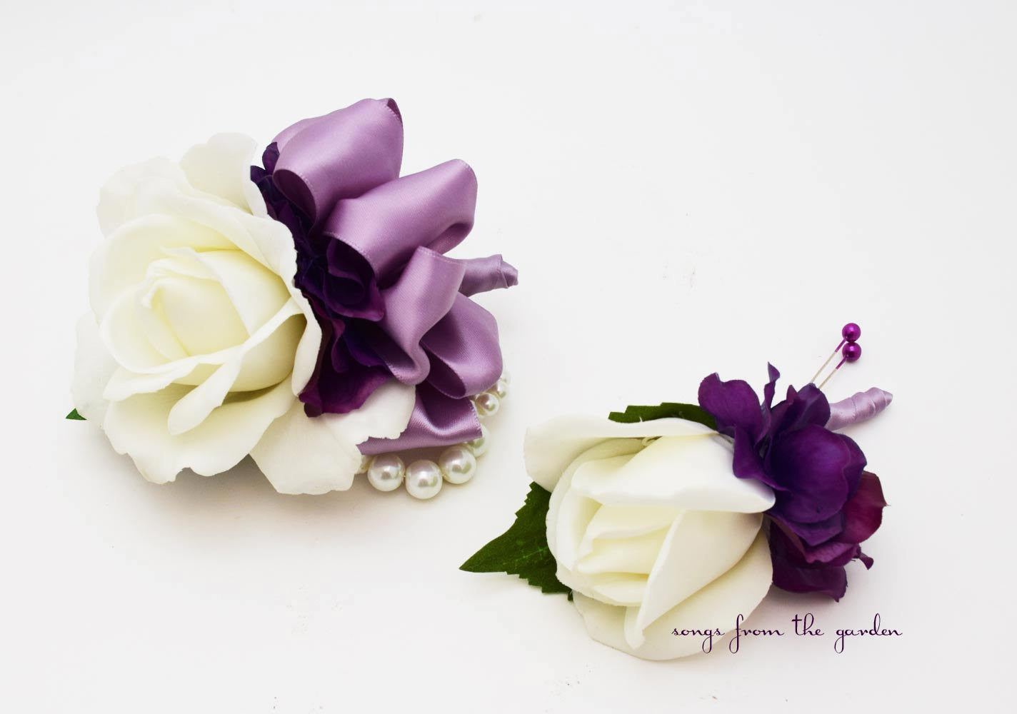 White Lavender Purple Rose Wedding Boutonniere Corsage With Pearls