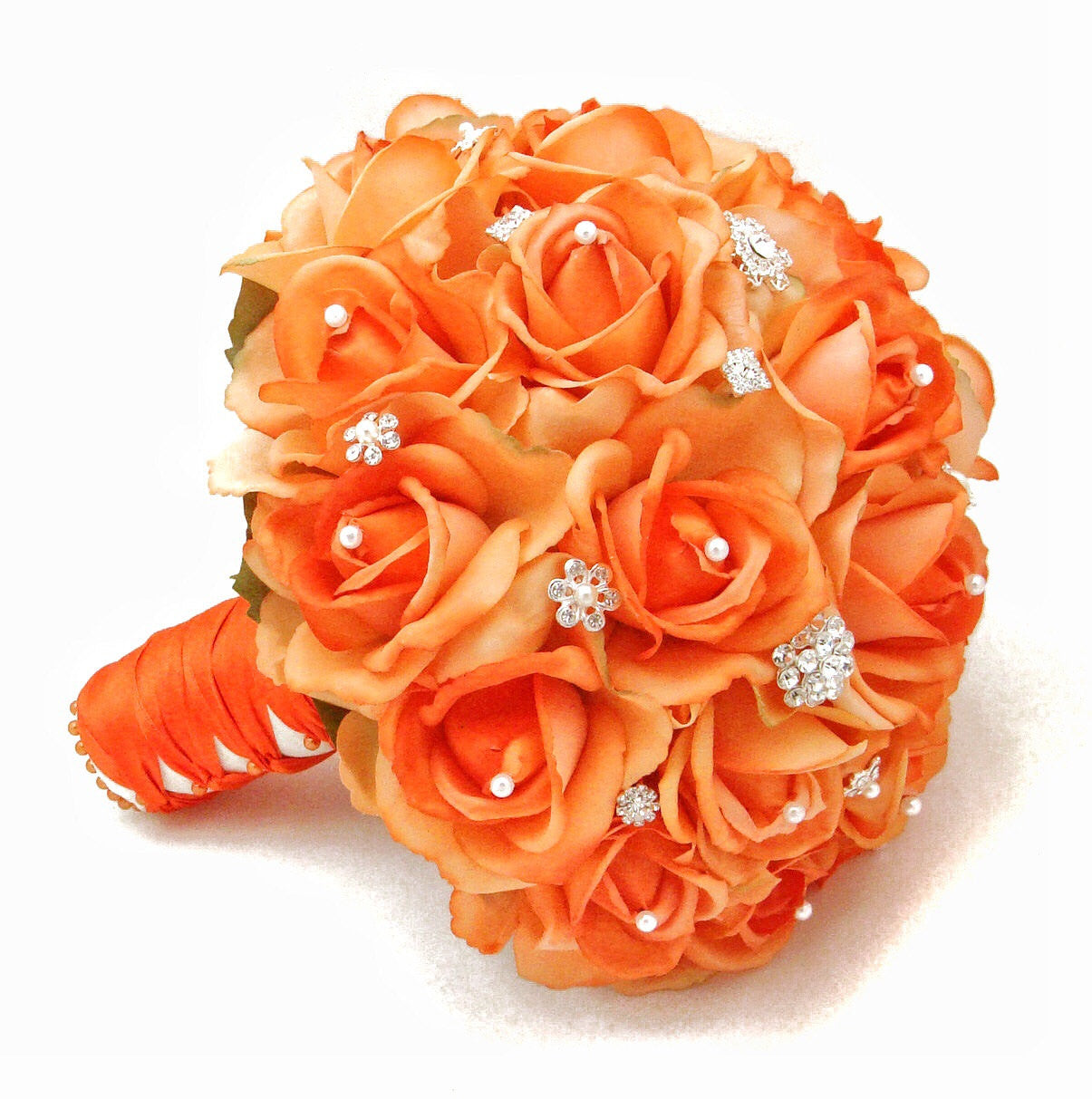 Real Touch Roses Bridal Bouquet with Rhinestones Pearls