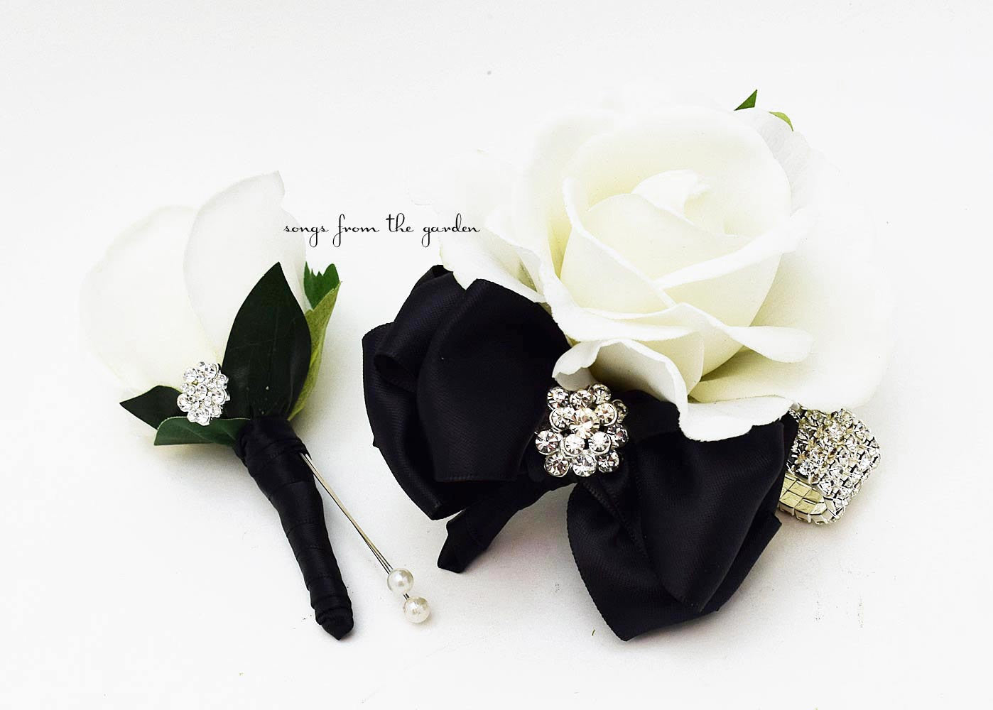 Black And White With Rhinestones Real Touch Rose Wedding Boutonniere