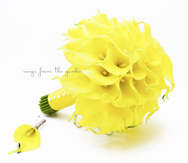 Yellow Wedding Real Touch Calla Lily Bridal Bouquet Groom's Boutonniere in Yellow with Pearl Accents