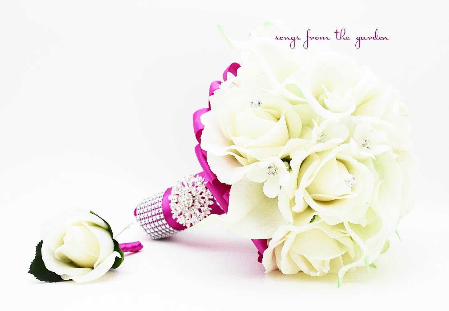 Fuchsia White Bridal Bouquet Stephanotis Real Touch Roses Calla Lily with Groom's Boutonniere