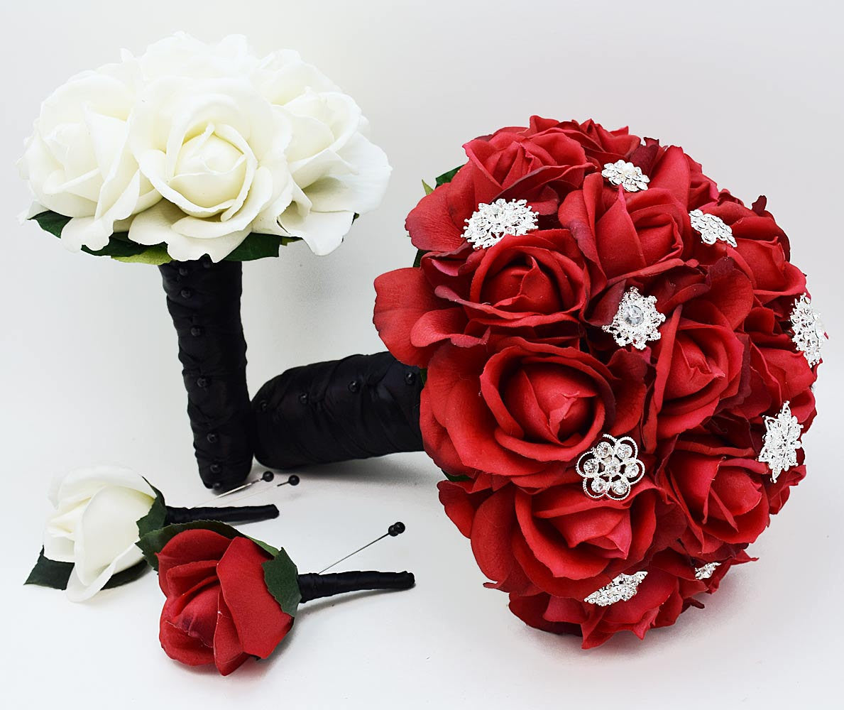 Red Roses & Rhinestones Black & White Bridal Bridesmaid Bouquet Groom's Groomsman Boutonniere