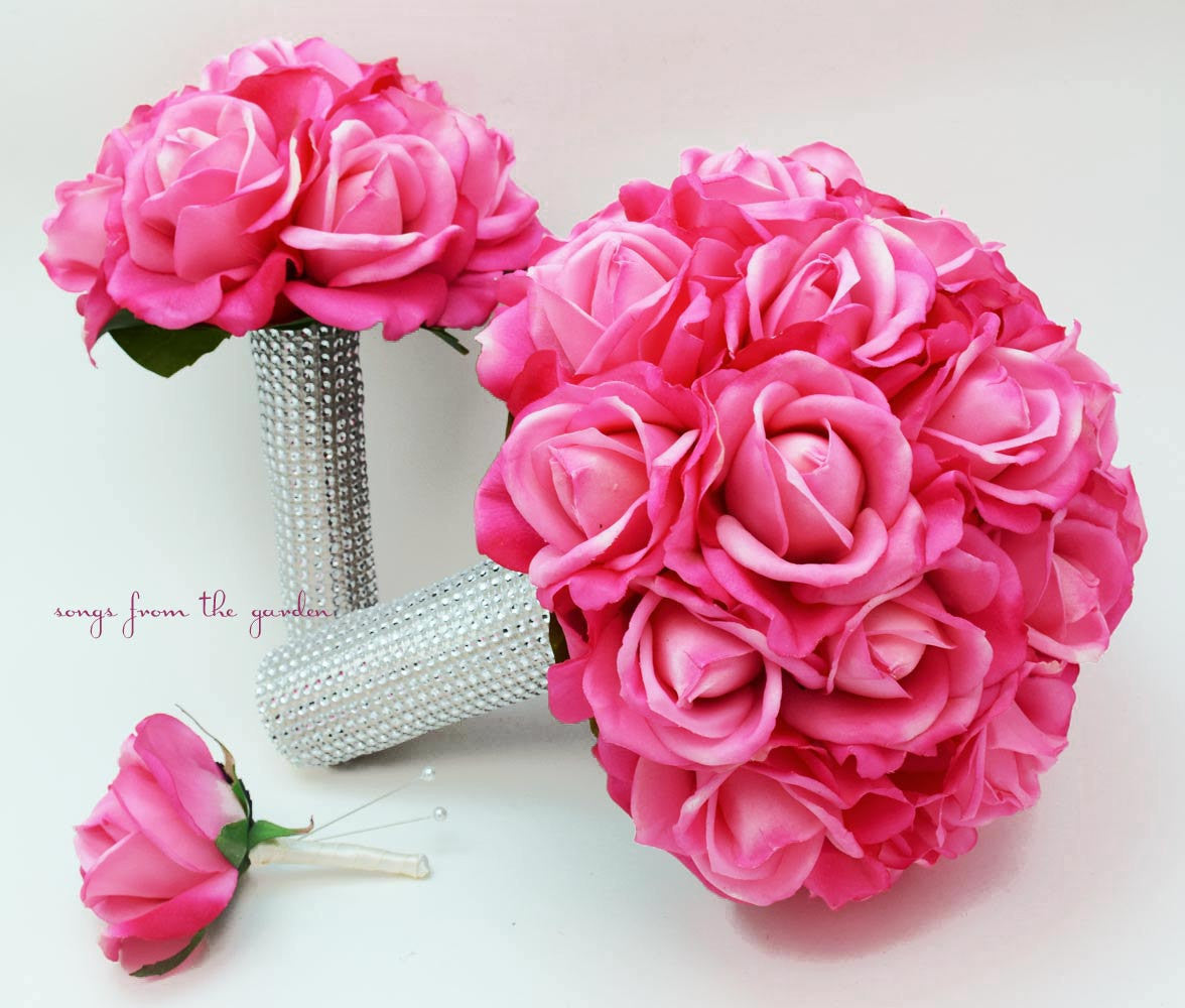 Bridal Bouquet Real Touch Roses Hot Pink Wedding Bouquet, Groom's Boutonniere and Toss Bouquet