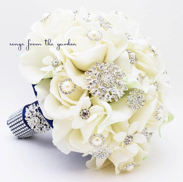 Brooches & Blooms Bridal Bouquet Silk Flower Wedding White Navy Bouquet Brooch Bouquet