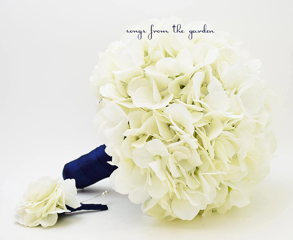 Wedding Bouquet White Silk Hydrangea Navy Ribbon Grooms Boutonniere