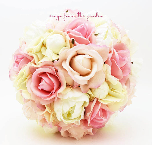 Blush & Ivory Bridal Bouquet - Real Touch Pink Roses Ivory Peonies Silk Hydrangea