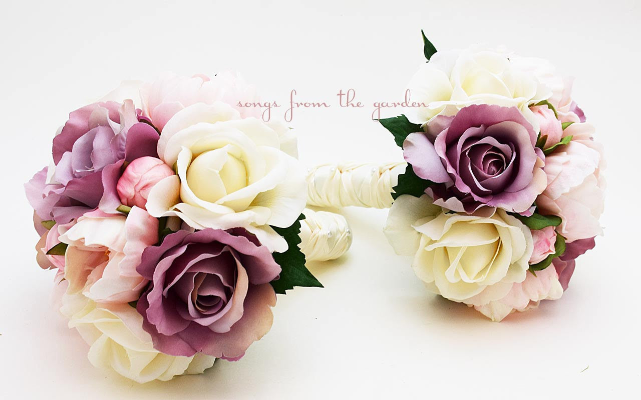 Peonies & Roses Lavender Pink Ivory Bridesmaid Bouquets Real Touch Roses Peonies Silk Roses