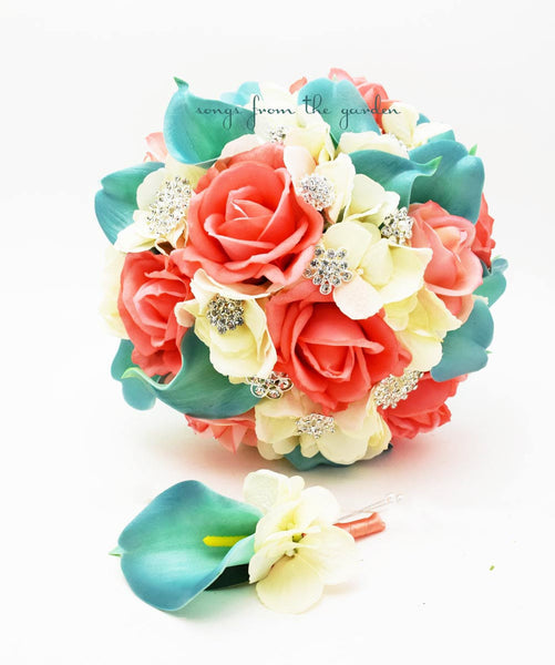 Coral Ivory Aqua Bridal Bouquet Rhinestone Brooches Wedding Bouquet Groom Boutonniere