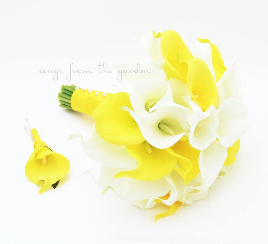 Yellow White Calla Lily Bridal Bouquet Grooms Boutonniere Silk Wedding Flower Yellow White