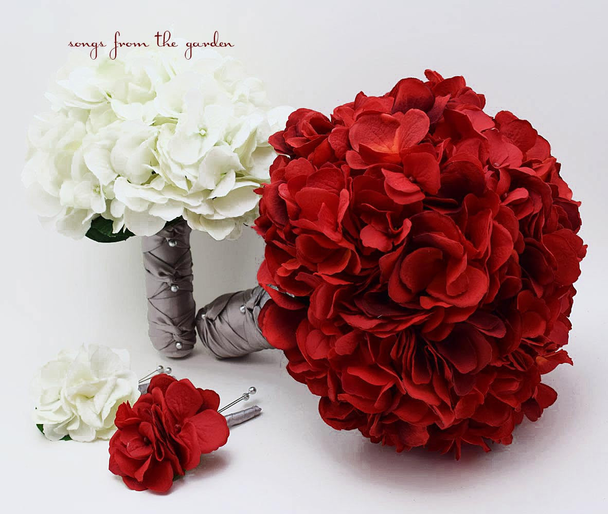 Red White Grey Silk Hydrangea Bridal Bridesmaid Bouquet Groom S Best Songs From The Garden