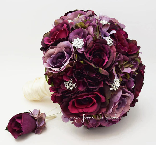 Plum & Lavender Roses and Hydrangea Bridal Bouquet Rhinestone Accents Groom's Boutonniere