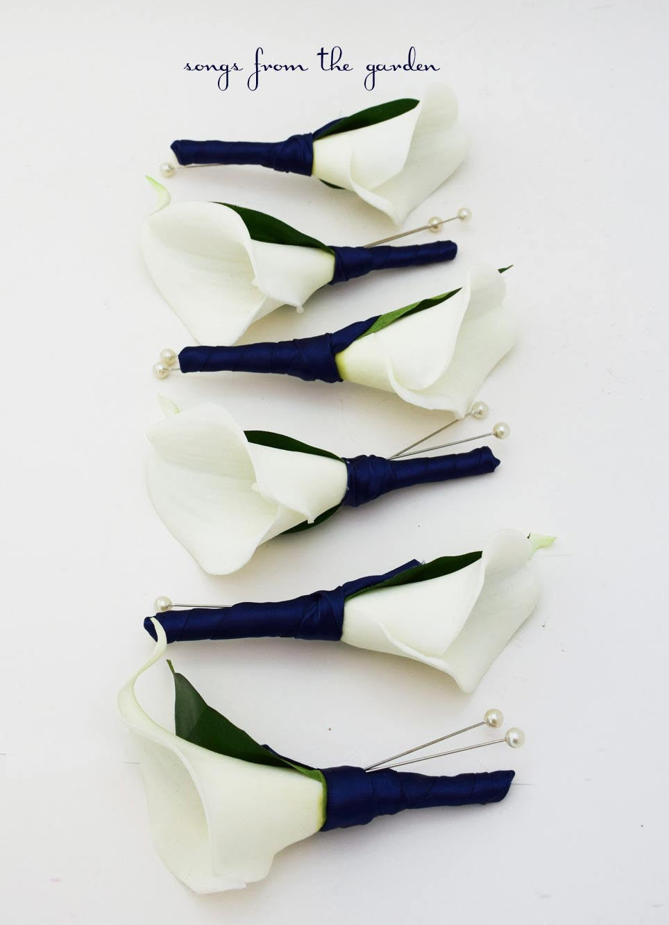 Real Touch White Calla Lily Boutonnieres Groom Groomsmen - Navy Ribbon - Wedding Prom Boutonniere