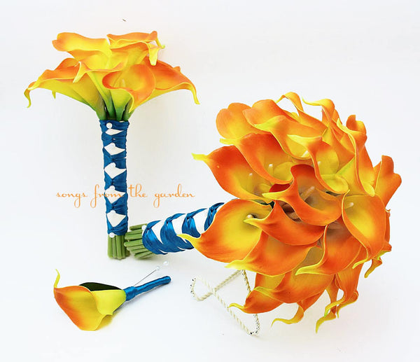 Real Touch Calla Lily Bridal & Toss Bouquet Groom's Boutonniere Flame Orange Teal Ribbon