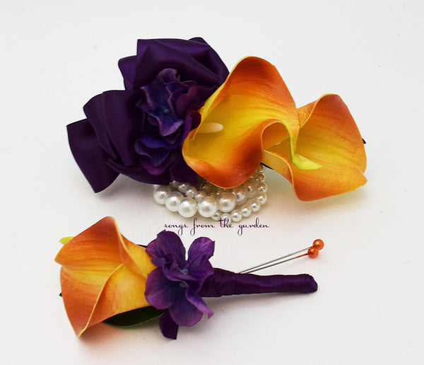Real Touch Orange Calla Lily Boutonniere Corsage Wedding Flower Package Purple Ribbon - Prom Corsage