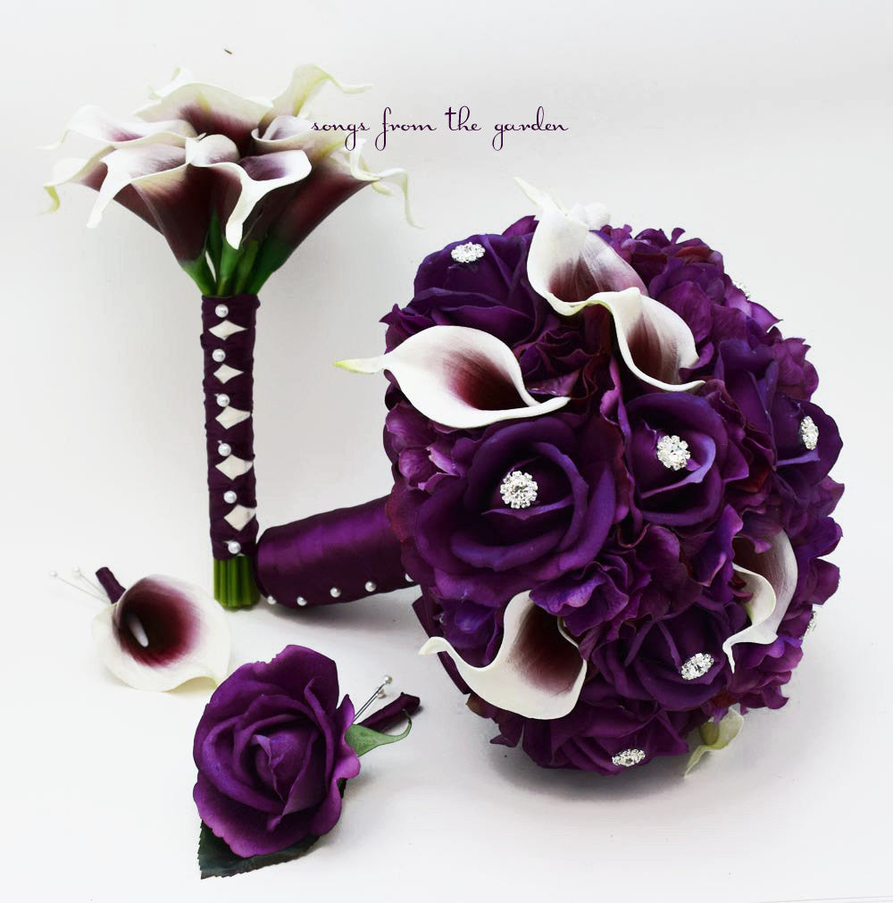 Purple And White Wedding Flower Bouquets: Purple White Real Touch Picasso Callas Roses Rhinestones