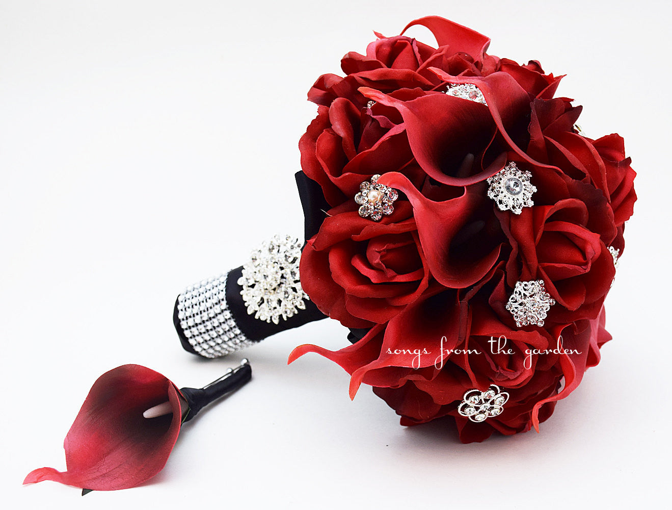Red Roses Calla Lilies & Rhinestones Bridal Bouquet - Red Black Wedding Bouquet Boutonniere