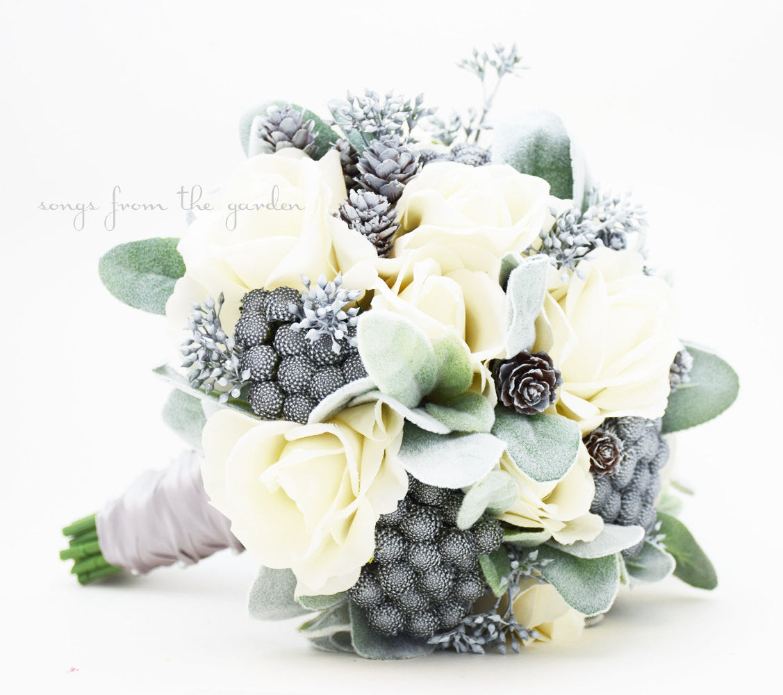 Winter Wedding Bridal Bouquet Brunia Eucalyptus Pine Cones Roses Groom's Boutonniere