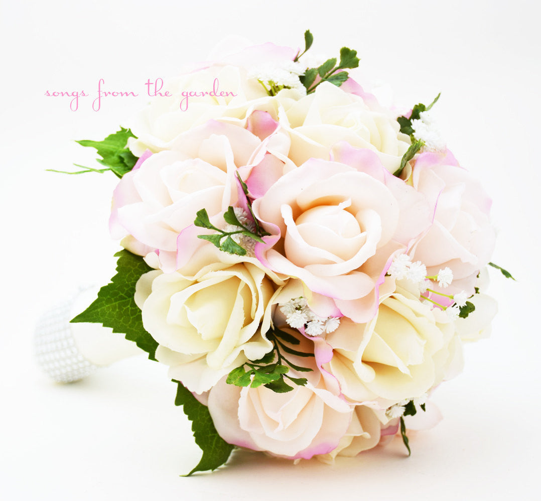 Blush & Ivory Bridal Bouquet Real Touch Roses Baby's Breath Maiden Hair Fern Greenery