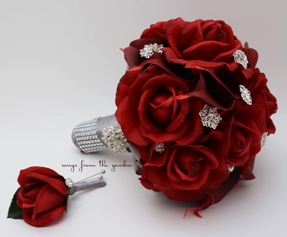 Red Real Touch Roses Calla Lilies & Rhinestones Bridal Bouquet with Groom's Boutonniere