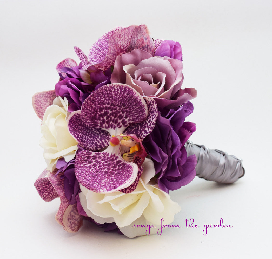 Orchids Roses Hydrangea Bridesmaid Bouquets - Wedding Party - Lavender Persian Plum Ivory