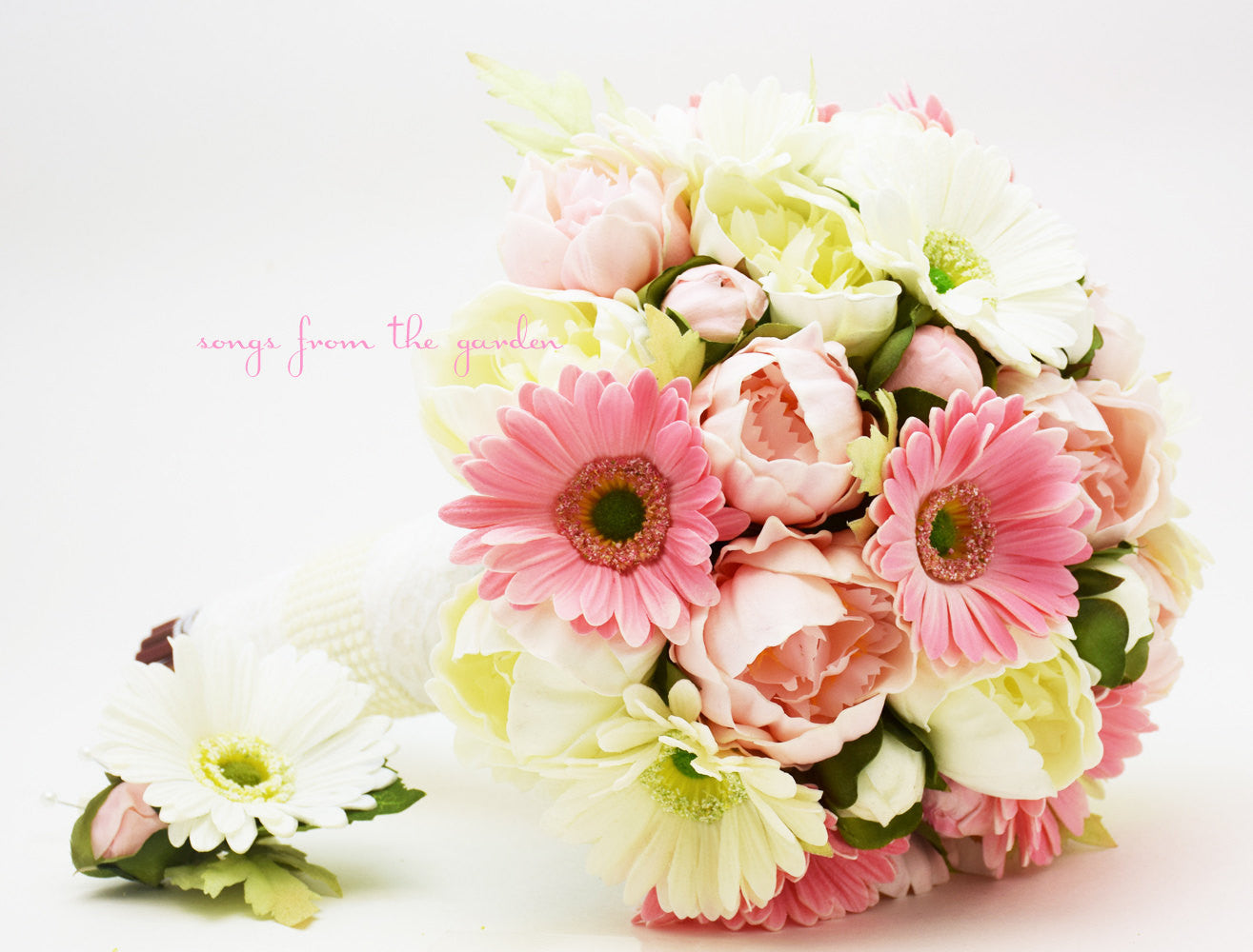Pink & White Bridal Bouquet Real Touch Gerber Daisies and Peonies with Groom's Boutonniere
