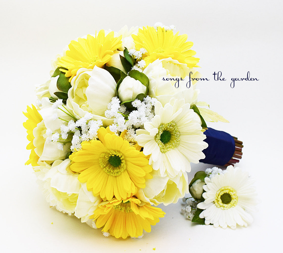 Yellow White Navy Bridal Bouquet Gerber Daisies Peonies and Baby's Breath & Groom's Boutonniere