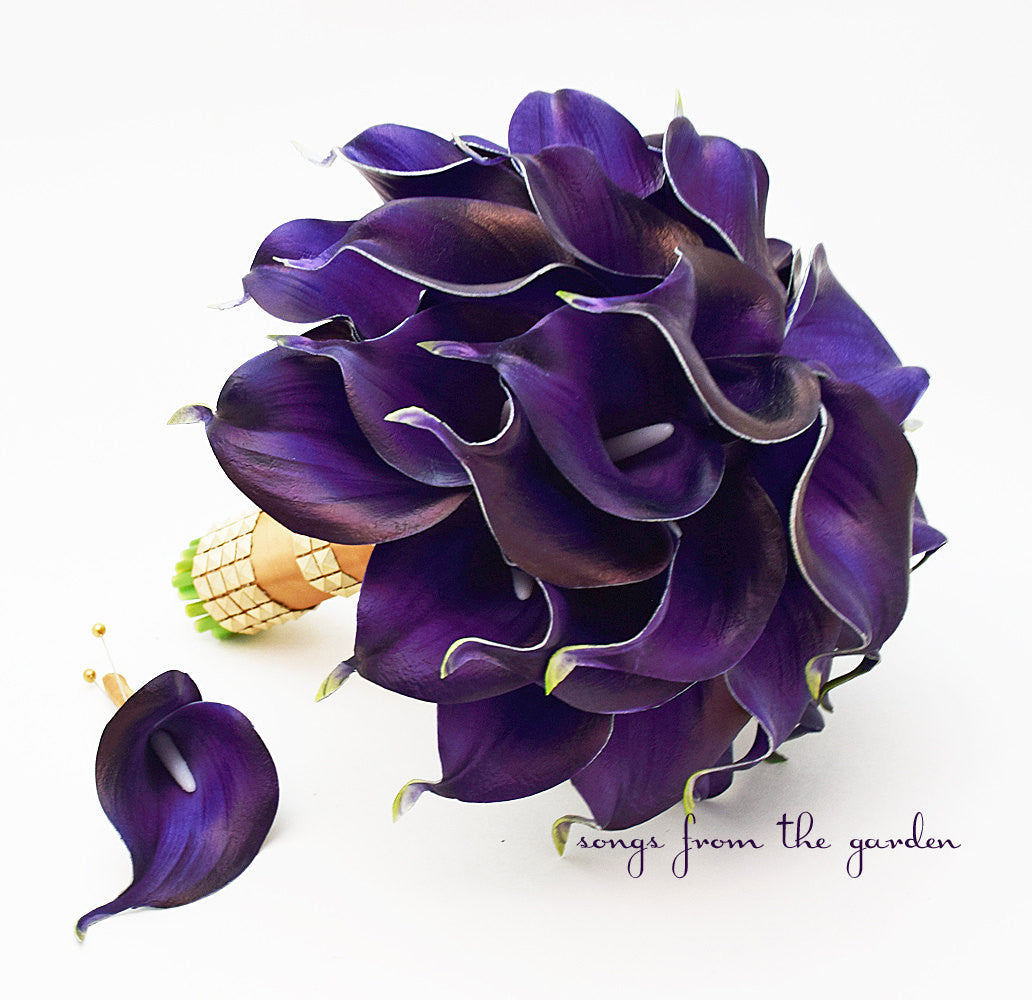 Royal Purple Calla Lily Bridal Bouquet, Bridesmaid Bouquet & Groom Groomsmen Boutonnieres