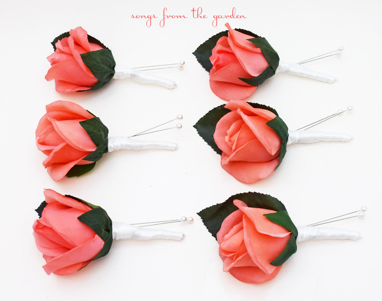 Coral Real Touch Rose Boutonniere Buttonhole Groom Groomsmen