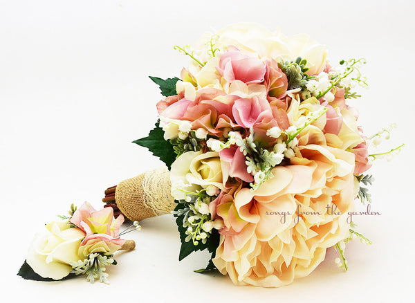 Rustic Romantic Bridal Bouquet Lily of the Valley Peonies Roses Hydrangea Burlap & Lace