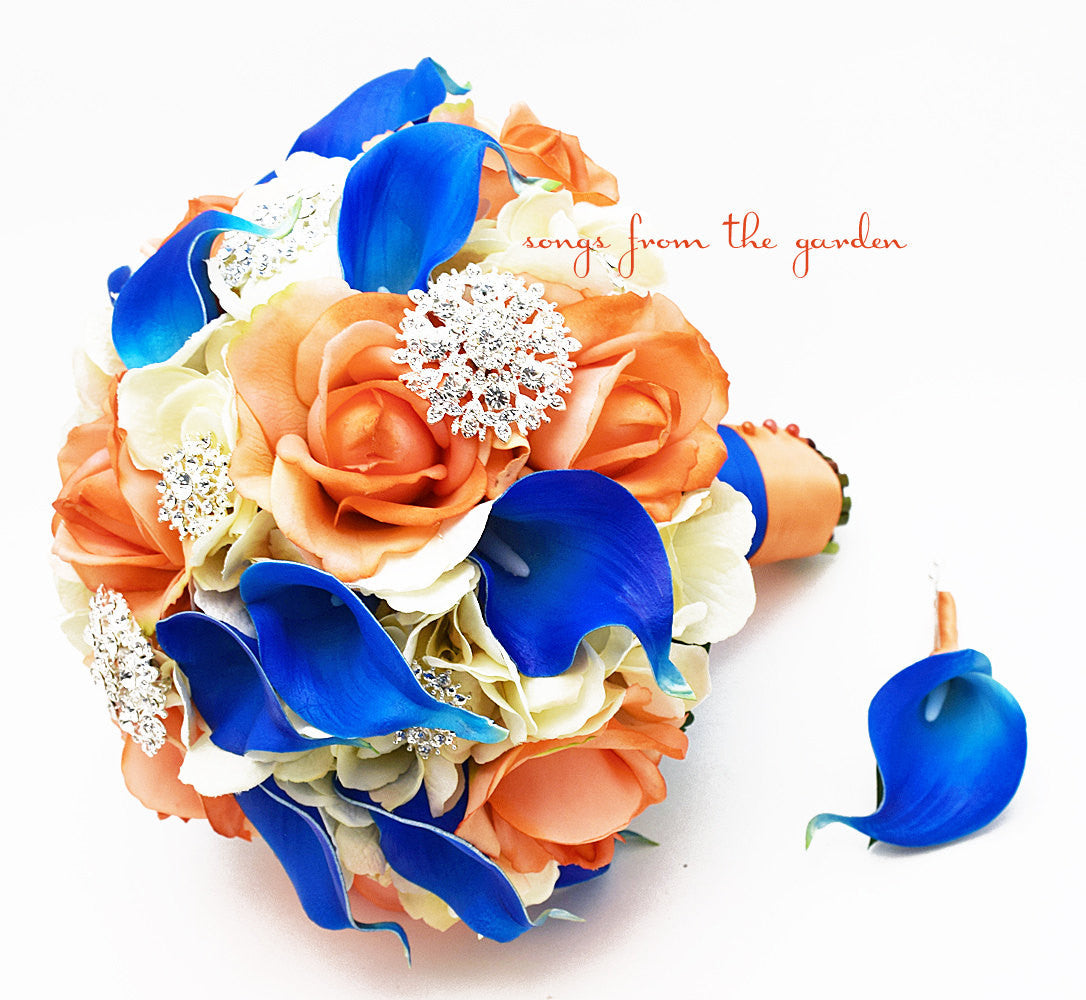 Orange Royal Blue Ivory Bridal Bouquet Rhinestone Brooches Wedding Bouquet Groom Boutonniere