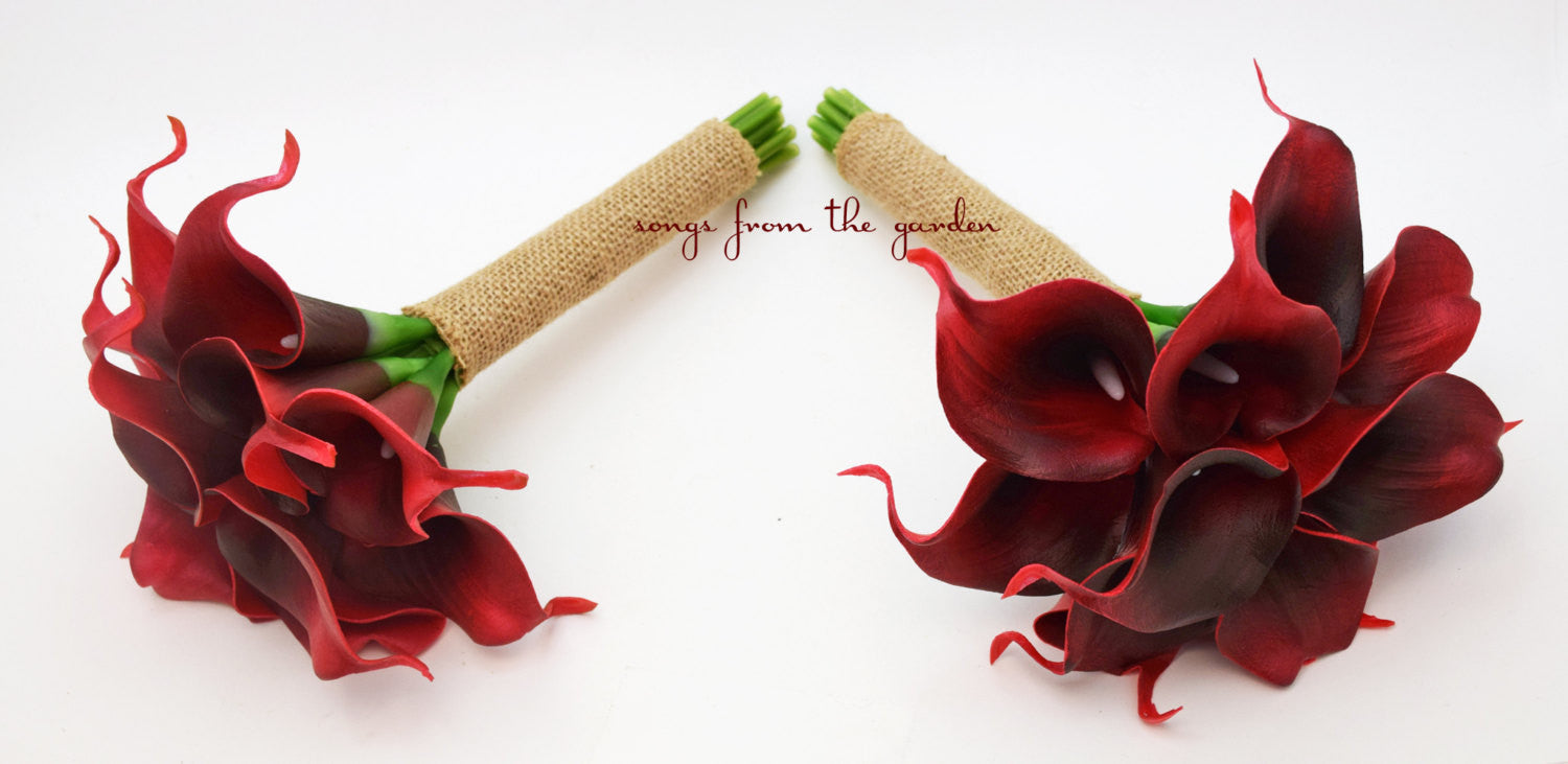Deep Red Wedding Flower Package Real Touch Calla Lily Bridesmaids Bouquets Burlap Ribbon