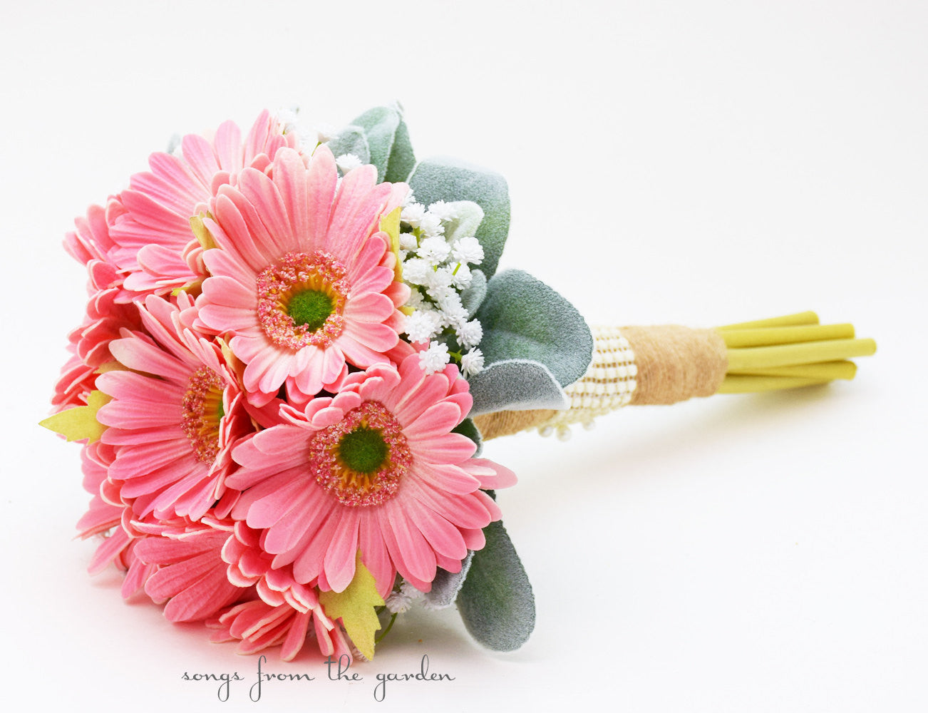 Pink Bridesmaid Bouquet Real Touch Gerber Daisies Baby's Breath Lamb's Ear Leaves Burlap Ribbon
