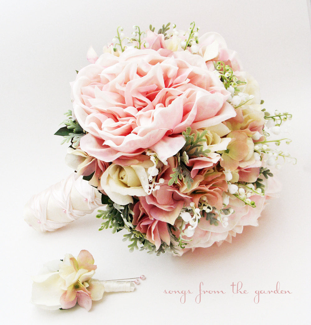 bridal bouquet lily of the valley peonies roses hydrangea pink and white - Garden Rose And Hydrangea Bouquet