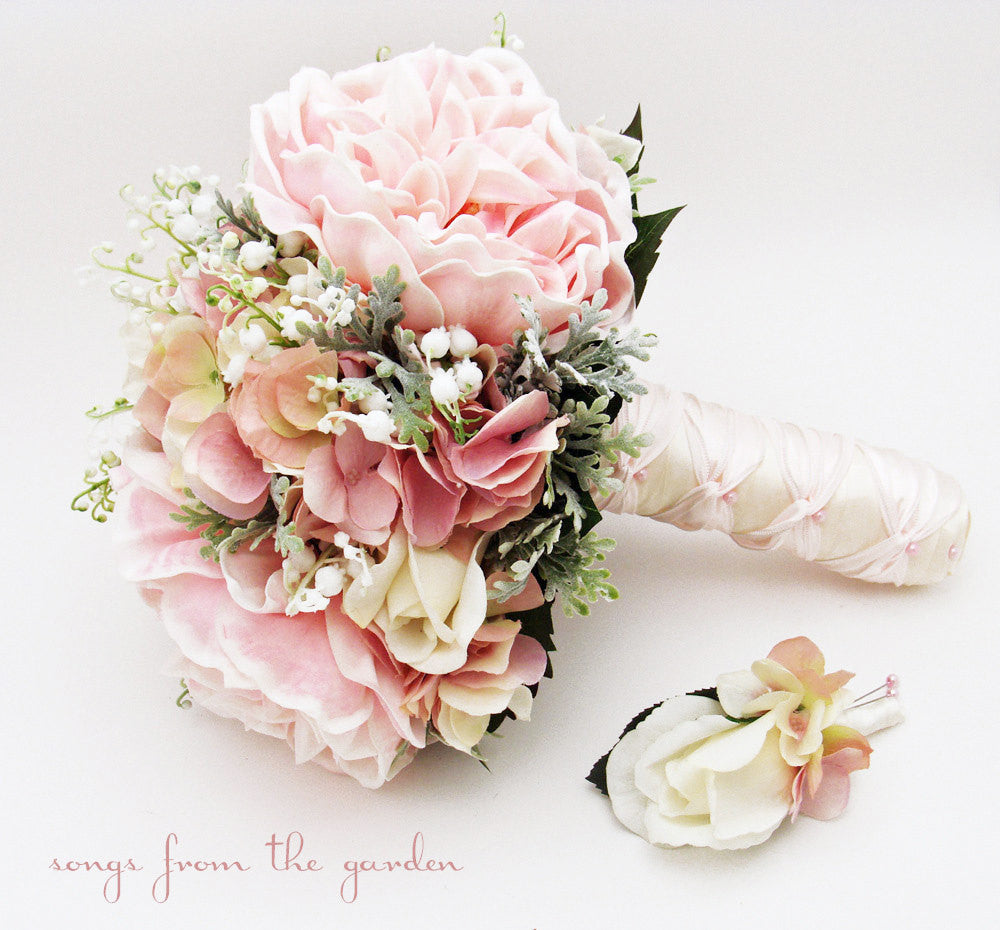 Bridal Bouquet Lily of the Valley Peonies Roses Hydrangea Pink and White