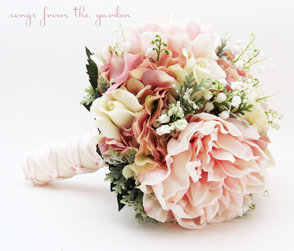 Bridal Bouquet Lily Of The Valley Peonies Roses Hydrangea Pink And Whi Songs From The Garden