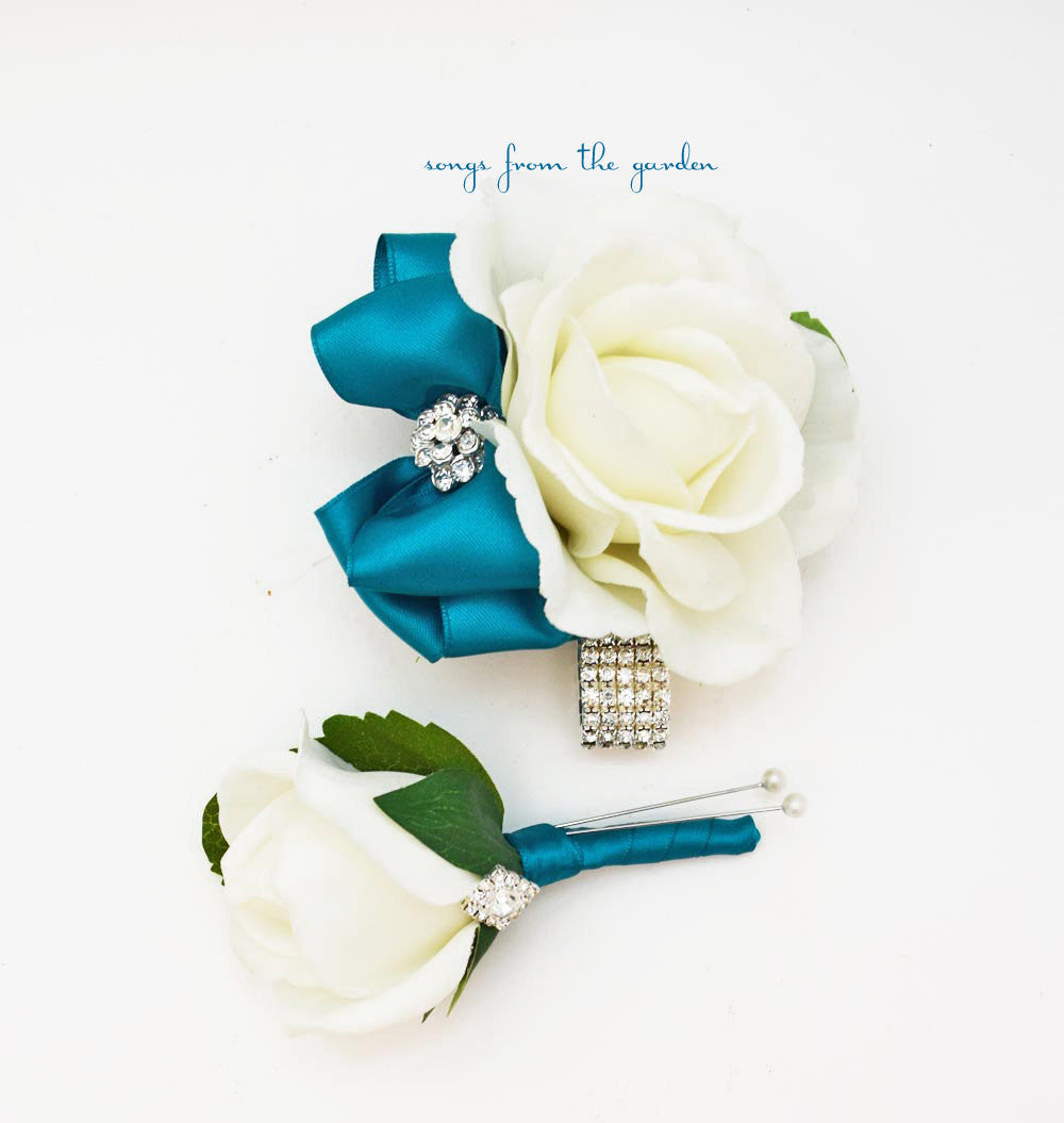 Teal and White with Rhinestones Real Touch Rose Wedding Boutonniere & Corsage