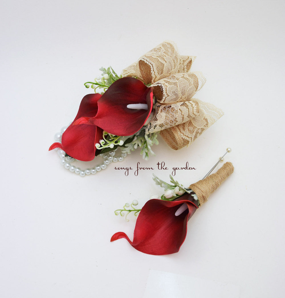 Real Touch Red Calla Lily Boutonniere Corsage Wedding Flower Package Burlap Lace Ribbon