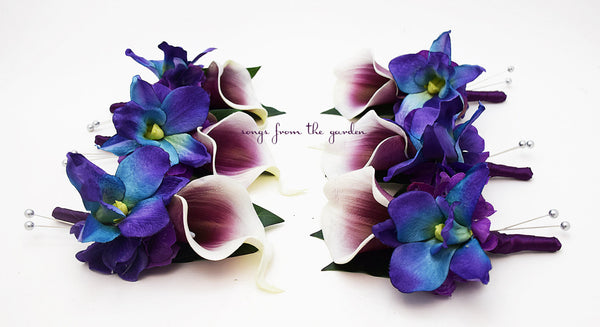 Blue Orchid Picasso Calla Lily Boutonniere Groom Groomsmen with Plum Ribbon