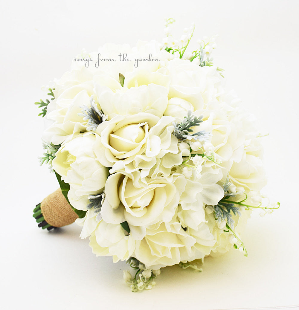 Winter Wedding Grey & White Bridal Bouquet Real Touch Roses Hydrangea Peonies Lily of the Valley