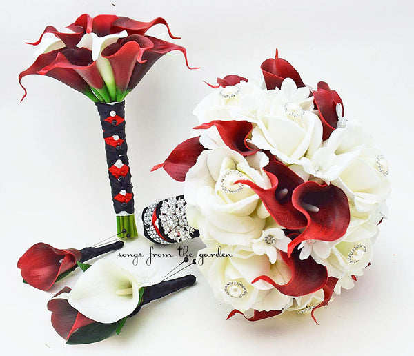 Bridal Bouquet Stephanotis Roses Calla Lily Red Black White, Bridesmaid Bouquet, Groom's Boutonniere